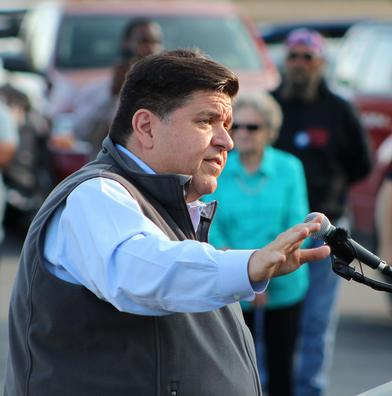 Then-candidate and current Gov. J.B. Pritzker campaigns in Springfield in this file photo from 2017.