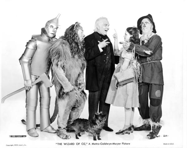 Publicity still showing main characters from 1939 version of The Wizard of Oz. Hollywood: Metro-Goldwyn-Mayer, 1939.