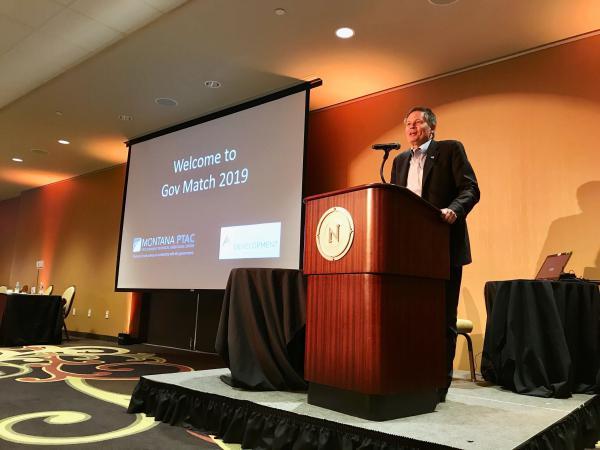 Montana U.S. Senator Steve Daines speaks at GovMatch 2019 in Billings on May 29.