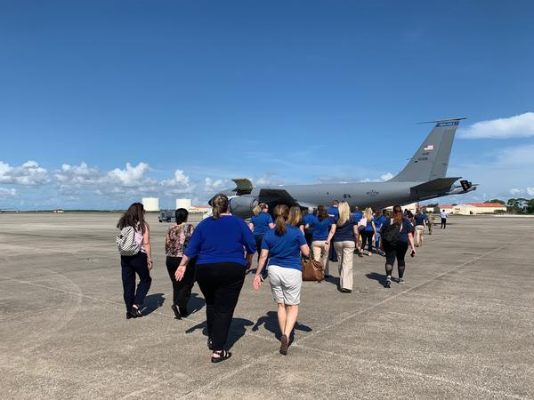 In addition to learning about resources available for students struggling while their parents are deployed, teachers got a tour of a KC-135, one of the planes that operates at MacDill.