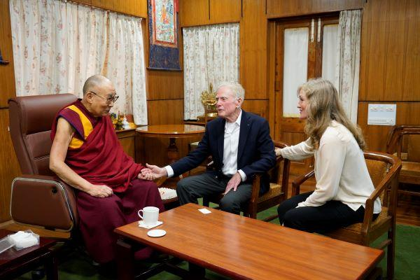 Ralph Snyderman spoke with the Dalai Lama at the leader's residence in India last year.