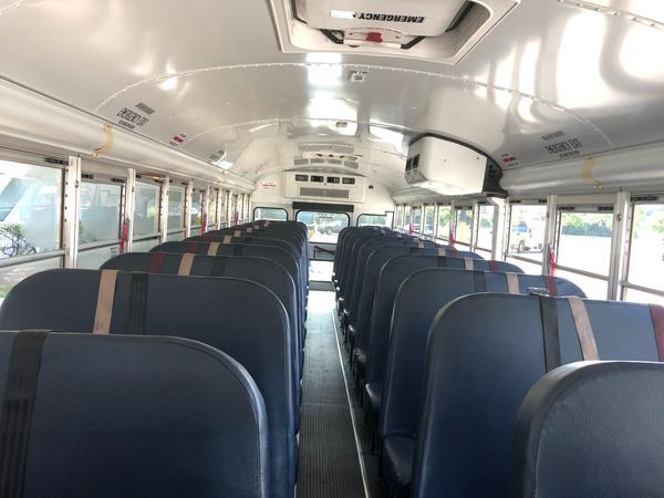 The interior of a Miami-Dade County public school bus.