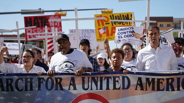 A march in downtown El Paso is lead by LULAC CEO Sindy Benavides, Pastor Michael Grady, Congresswoman Barbara Lee and Democratic presidental candidate Beto O'Rourke