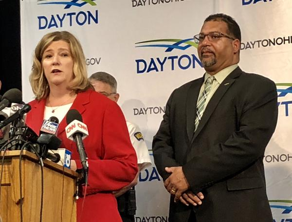 Dayton Mayor Nan Whaley with City Commissioner Chris Shaw