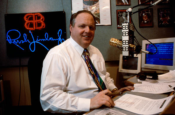 Rush Limbaugh in his studio during his radio show.