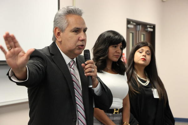 HISD Trustees Sergio Lira, Diana Dávila and Elizabeth Santos speak at a community meeting where local leaders and parents gave their input on the superintendent search. Last fall, the three trustees voted to abruptly fire the current interim superintenden