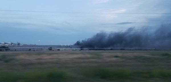 Smoke from the fire at the Tyson Fresh Meats plant a few minuts after the inital 911 call.