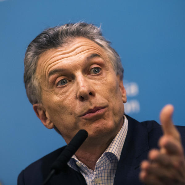 President of Argentina Mauricio Macri speaks during a news  conference at Casa Rosada on Monday in Buenos Aires.