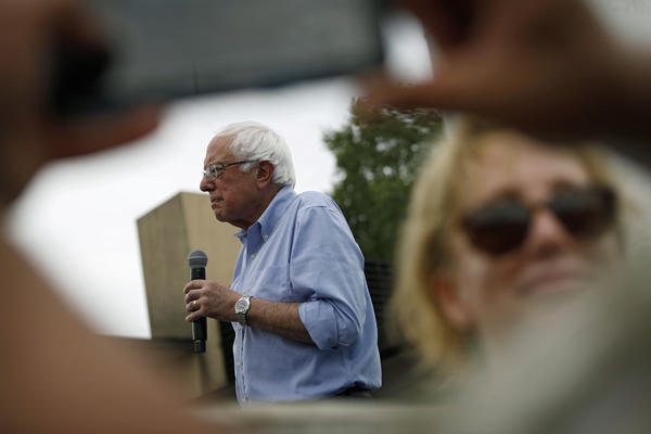 Democratic presidential candidate Sen. Bernie Sanders, seen at the Iowa State Fair on Sunday, has lashed out at <em>The Washington Post </em>over coverage of his presidential campaign.