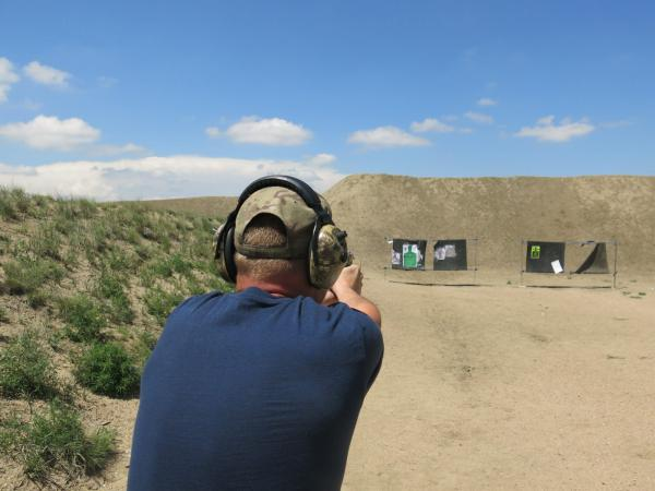 A soldier trains at a public shooting range in Ault, Colorado.