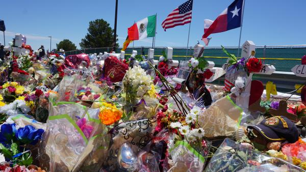 A memorial site outside an El Paso Walmart, where a gunman open fired and took the lives of twenty-two people, has continued to grow since the Aug. 3 mass shooting.