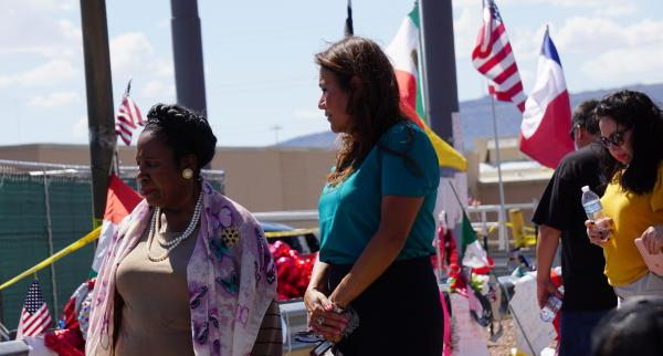 U.S. Represetatives Shelia Jackson Lee (D-Houston) and Veronica Escobar (D-El Paso) pay their respects to the twenty-two lives lost after a gunman open fired at an El Paso Walmart on Aug. 3.