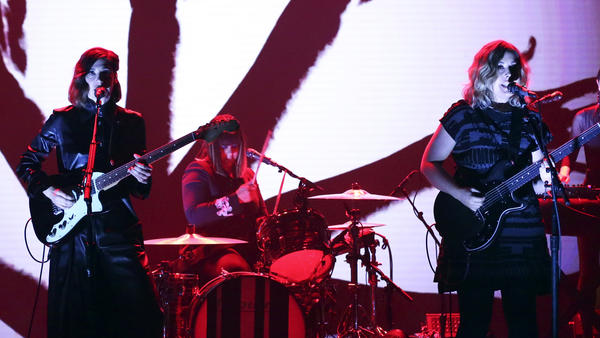 Sleater-Kinney performs on <em>The Tonight Show Starring Jimmy Fallon</em> on June 19, 2019. On July 1, drummer Janet Weiss announced her departure from the band after more than 20 years.