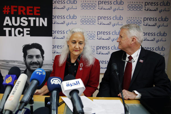 Marc and Debra Tice, the parents of Austin Tice, speak during a press conference at the Press Club, in Beirut, Lebanon, Tuesday, Dec. 4, 2018. (Bilal Hussein/AP)