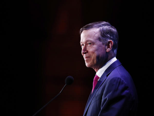 Former Colorado Gov. John Hickenlooper speaks during a forum in Miami in June.