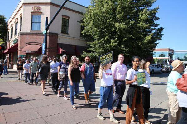 <p>Crowds gathered outside the Washington County Courthouse to cheer on&nbsp;the ACLU's legal action&nbsp;against ICE and protest the presence of immigration officers in Oregon courthouses.</p>
