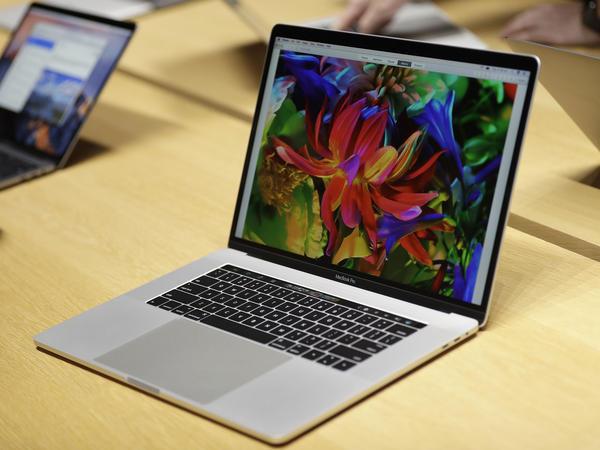 A MacBook laptop computer shown in 2016.