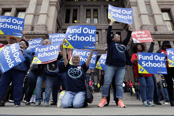 In this March 11, 2019, photo, educators attend a rally to support funding for public schools at the state Capitol in Austin, Texas. (Eric Gay/AP)