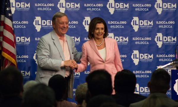 U.S. Senator Dick Durbin introduced U.S. House Speaker Nancy Pelosi at a Democratic rally Wednesday in Springfield.