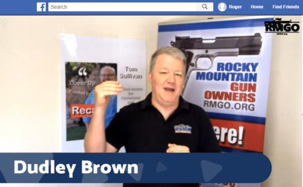 Dudley Brown of Rocky Mountain Gun Owners speaks to supporters via Facebook Live in June, as part of an effort to recall a state lawmaker.