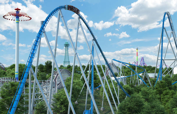 "A digital rendering shows ""Orion,"" which will become the world's seventh giga coaster when it opens in Spring 2020."