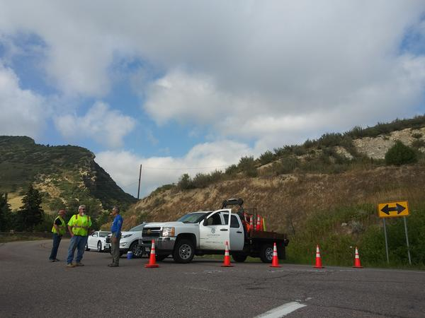 Deer Creek Canyon Road is blocked off heading into the canyon.