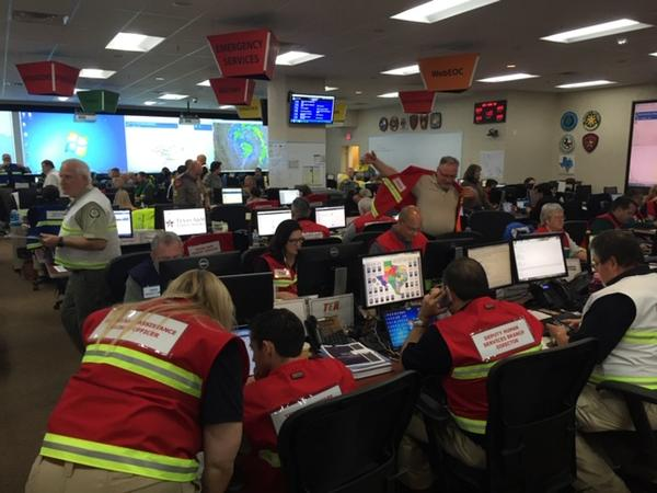 Texas emergency response personnel at the State Operations Center at DPS headquarters in Austin during Hurricane Harvey in 2017.