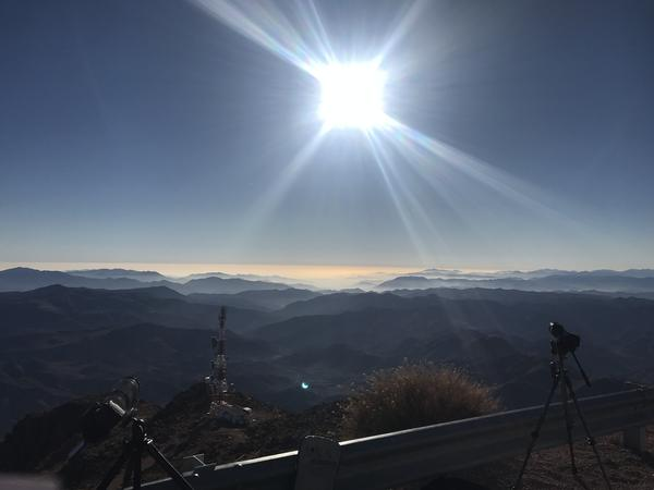 Sun over the Pacific Ocean during total eclipse viewed from the Cerro Tololo Inter-American Observatory