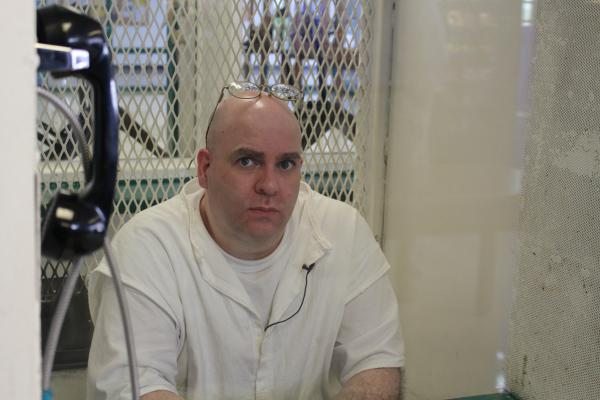 Larry Swearingen during an interview with Texas Public Radio at the Texas State Penitentiary.