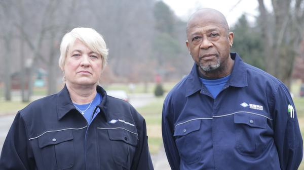 American workers Jill Lamantia and Bobby Allen struggle to adapt to the expectations of Chinese management in the documentary <em>American Factory.</em>