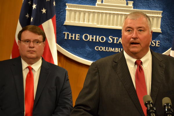 House Speaker Larry Householder (R-Glenford) and Senate President Larry Obhof (R-Medina) discuss the importance of increasing the wage for direct support professionals in the state budget.