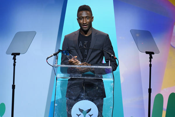 Marques Brownlee accepts the award for Creator of the Decade onstage during the 10th Annual Shorty Awards at PlayStation Theater in New York City.  (Photo by Dave Kotinsky/Getty Images for Shorty Awards)