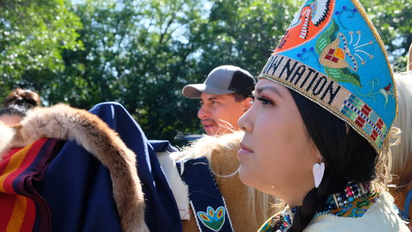 Awna Bad Bear, 19, gets ready to ride in her last day of the Crow Fair parade and kick off her second-to-last day as Miss Crow Nation.