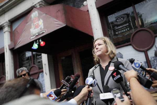 Dayton Mayor Nan Whaley speaks to members of the media Tuesday, Aug. 6, 2019, outside Ned Peppers bar in the Oregon District following a mass shooting nearby on Aug. 4.