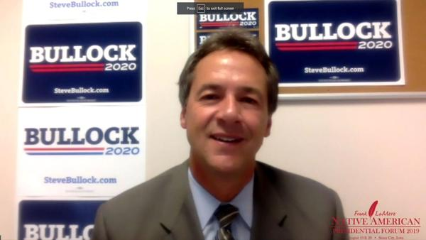 Montana Governor Steve Bullock fielded questions via video stream at the Frank LaMere Native American Presidential Forum August 19.