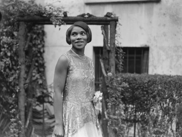 An undated portrait of America contralto Marian Anderson at her home.