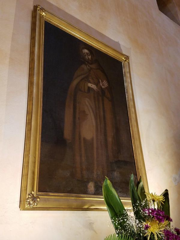 Oil painting of St. Francis at Mission Concepción. This and other oil paintings are at risk of damage from water and humidity.
