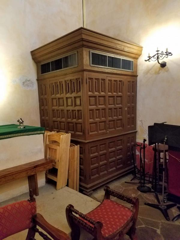 An air conditioning unit inside the Mission Concepción church.