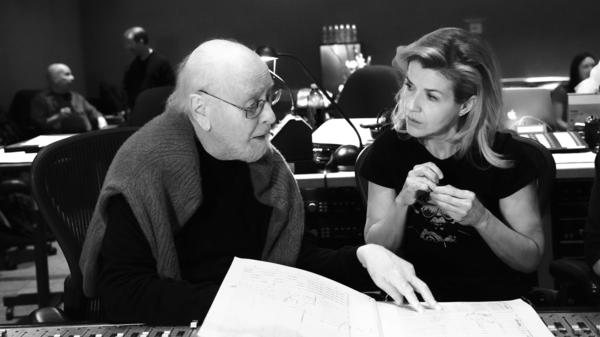Composer John Williams and violinist Anne-Sophie Mutter during a studio session for <em>Across the Stars.</em>