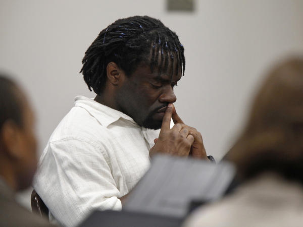 Death row inmate Marcus Robinson listens in 2012 as a judge concludes that racial bias played a role when he was sentenced to death. Robinson was resentenced to life, but he was sent back to death row years later after the state's Racial Justice Act was repealed.