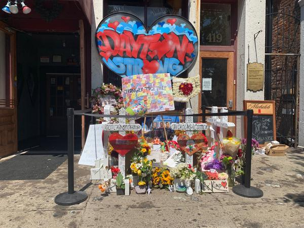 The temporary memorial to the victims of the Aug. 4 mass shooting in front of Ned Peppers bar in the Oregon District.