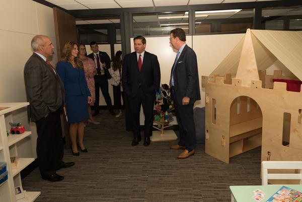Governor Ron DeSantis tours the new clinic, which includes a play room for kids. The clinic provides mental health care for children of veterans and active duty military.