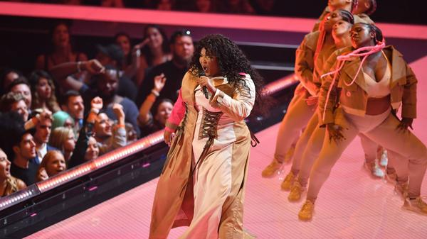 Lizzo performs at the 2019 MTV Video Music Awards in Newark, New Jersey.