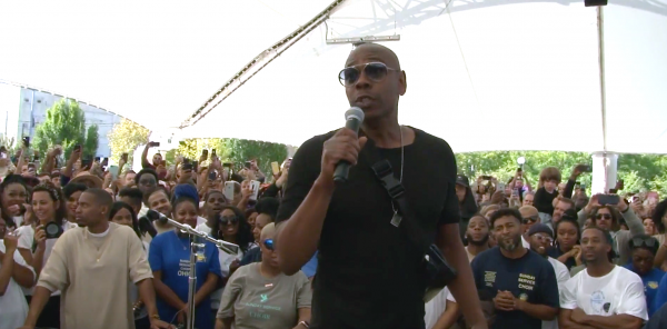 Dave Chappelle appeared at RiverScape MetroPark Sunday in advance of the benefit concert.