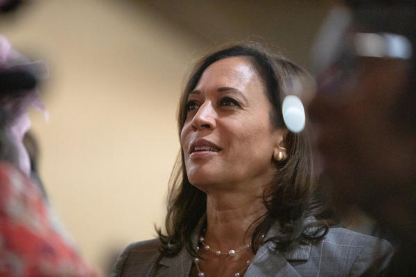 Democratic presidential candidate Kamala Harris attends a worship service at St. Joseph's AME Church in Durham, N.C., Sunday, Aug 25, 2019.
