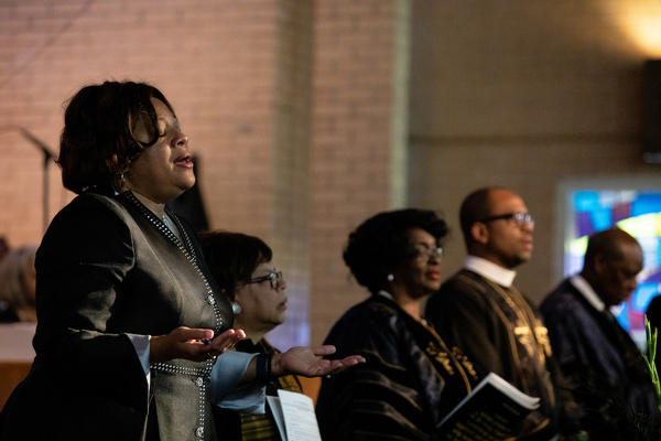 Worship leaders sing from the chancel during a service at St. Joseph's AME Church in Durham, N.C., Sunday, Aug 25, 2019. Democratic presidential candidate Kamala Harris was in attendance at the service.