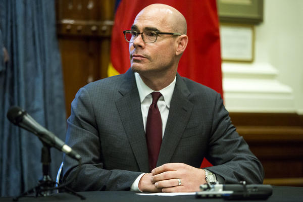 Texas House Speaker Dennis Bonnen at a Capitol press conference in May.