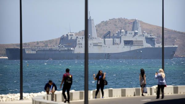 The USS Green Bay anchored just outside Port Moresby, Papua New Guinea, last year. Earlier this month, China refused to allow the Green Bay a port call at Hong Kong.
