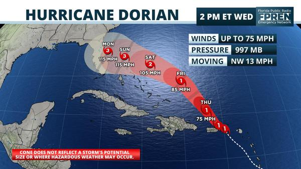 St Thomas Gas Prices >> Dorian is Now a Hurricane, Could Reach Florida as a ...