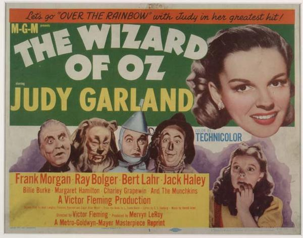 Lobby card for the 1955 re-release of 'The Wizard of Oz.'